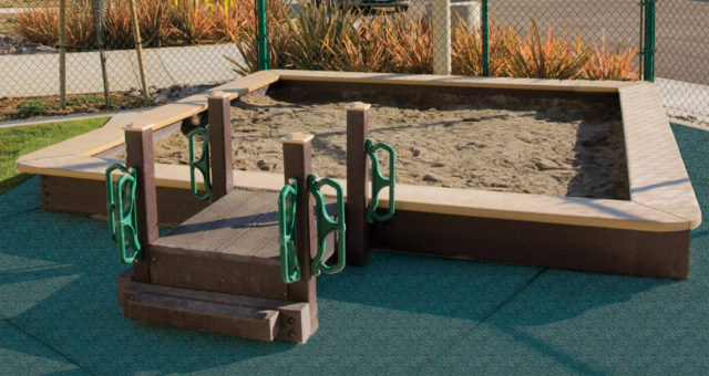Recycled Plastic Sandbox (ADA Transfer Deck)   Nature of Early Play   Playground Equipment